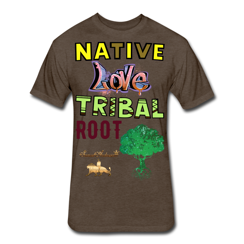 Native Love Tribal Root Fitted Cotton/Poly T-Shirt - heather espresso