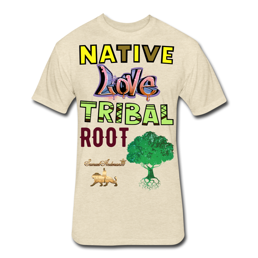 Native Love Tribal Root Fitted Cotton/Poly T-Shirt - heather cream