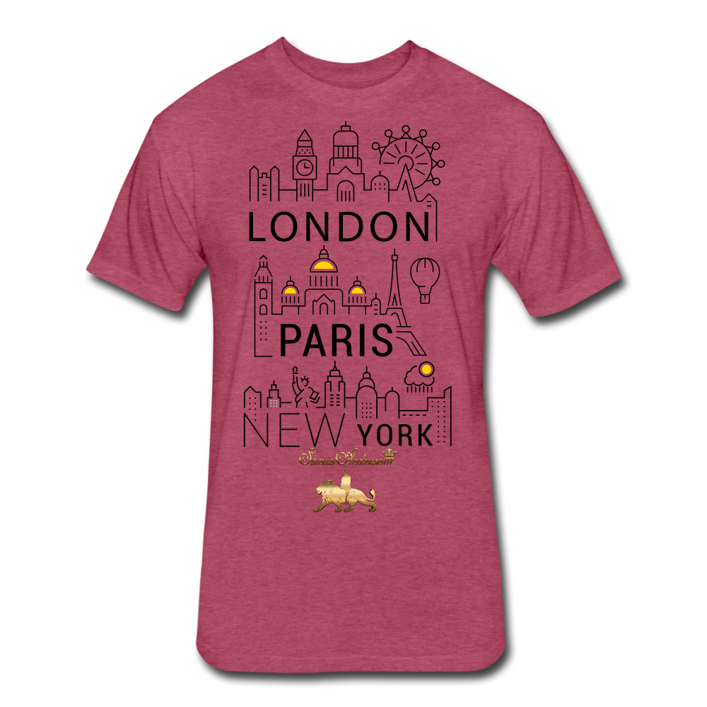 London-Paris-New York   Fitted Cotton/Poly T-Shirt - heather burgundy
