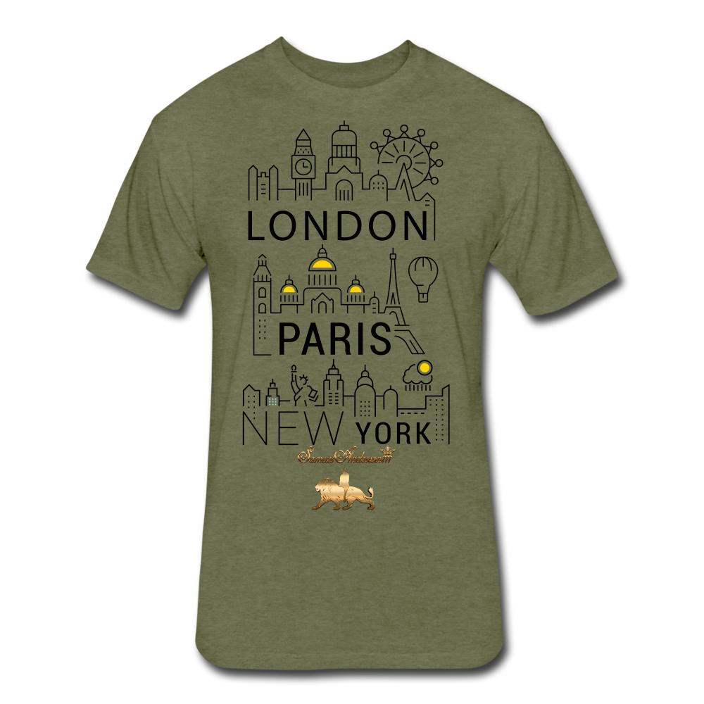 London-Paris-New York   Fitted Cotton/Poly T-Shirt - heather military green