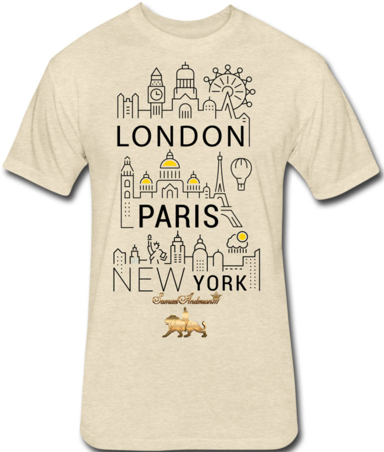 London-Paris-New York   Fitted Cotton/Poly T-Shirt - heather cream