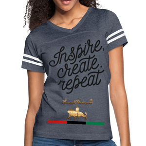 Inspire. Create. Repeat. Women's Vintage Sport T-Shirt - vintage navy/white