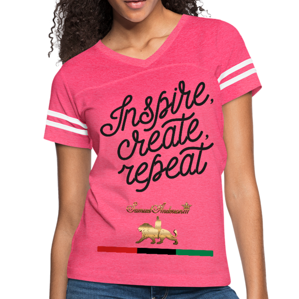 Inspire. Create. Repeat. Women's Vintage Sport T-Shirt - vintage pink/white