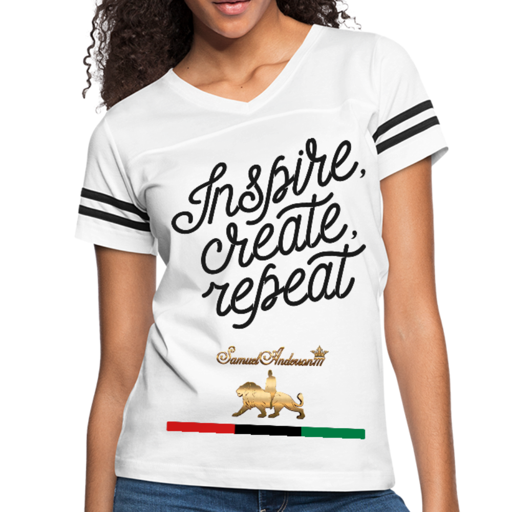 Inspire. Create. Repeat. Women's Vintage Sport T-Shirt - white/black
