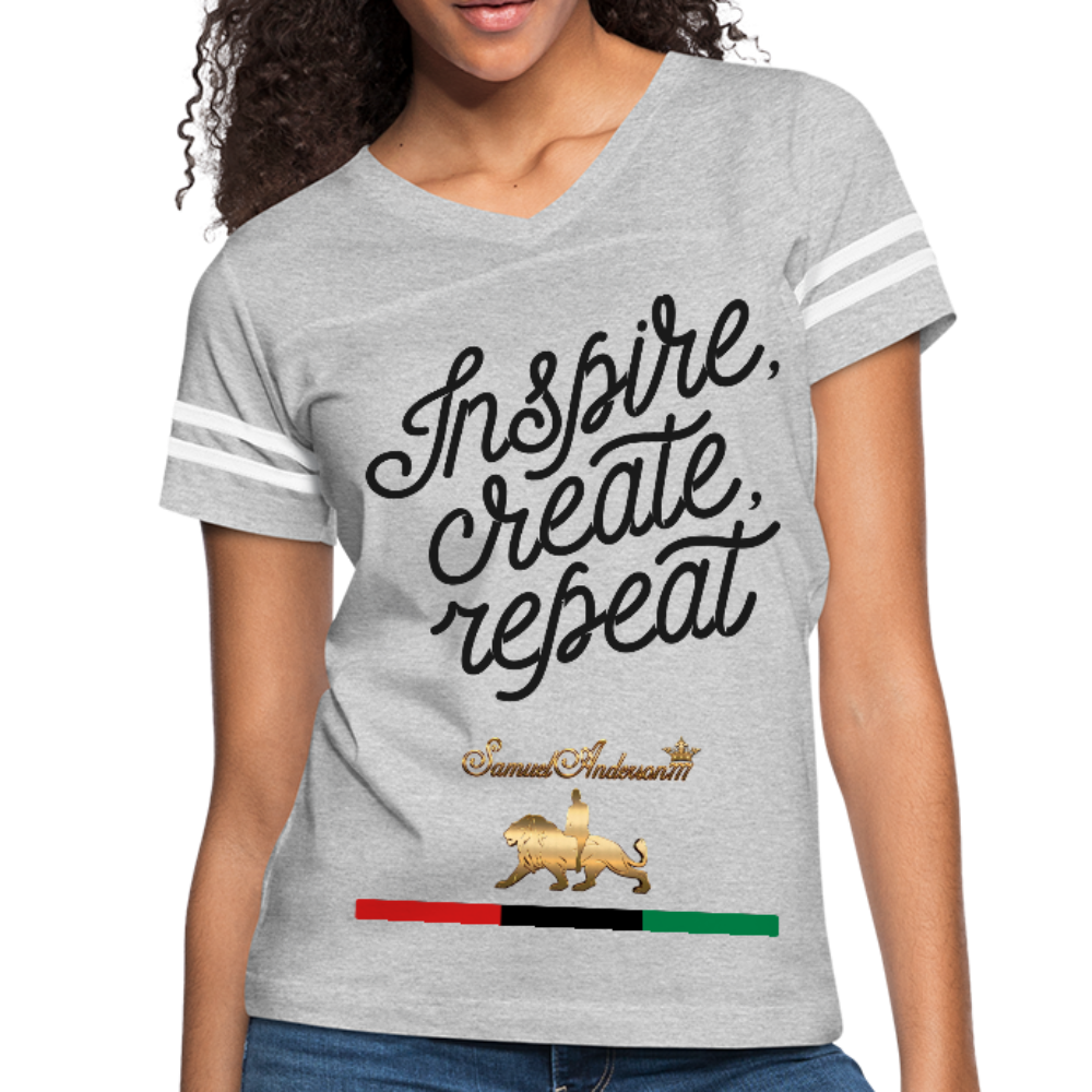 Inspire. Create. Repeat. Women's Vintage Sport T-Shirt - heather gray/white