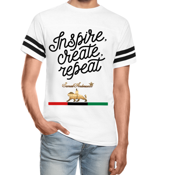 Inspire. Create. Repeat. Vintage Sport T-Shirt - white/black
