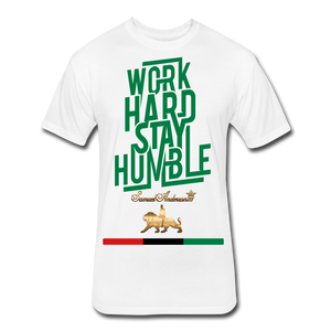 Work Hard Stay Humble Fitted Cotton/Poly T-Shirt - white