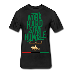 Work Hard Stay Humble Fitted Cotton/Poly T-Shirt - black