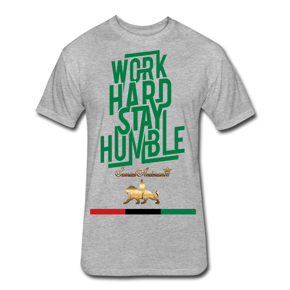 Work Hard Stay Humble Fitted Cotton/Poly T-Shirt - heather gray