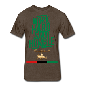 Work Hard Stay Humble Fitted Cotton/Poly T-Shirt - heather espresso