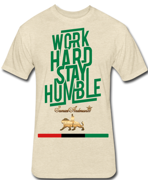 Work Hard Stay Humble Fitted Cotton/Poly T-Shirt - heather cream