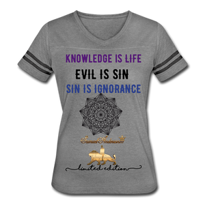 Knowledge is Life   Women's Vintage Sport T-Shirt - heather gray/charcoal