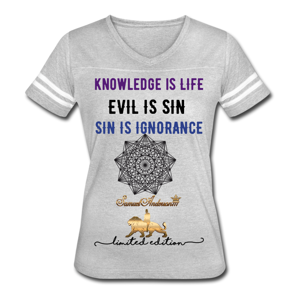 Knowledge is Life   Women's Vintage Sport T-Shirt - heather gray/white