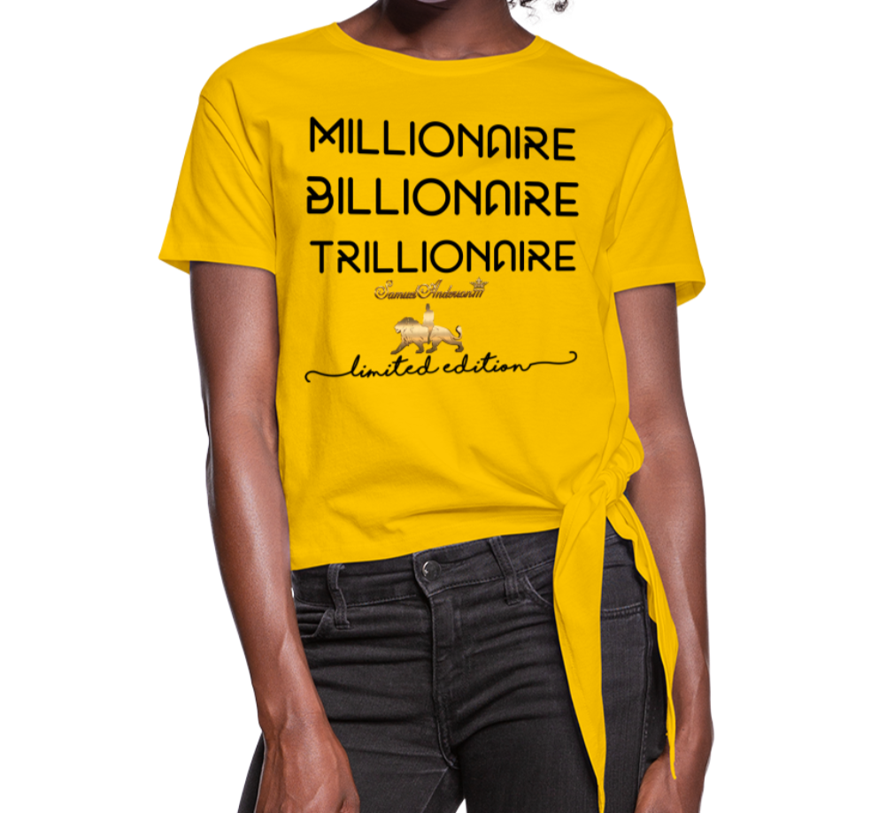 Wealthy Women's Knotted T-Shirt - sun yellow