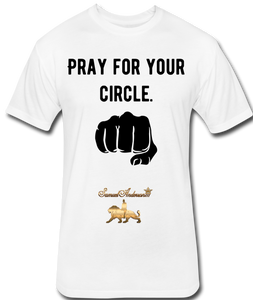 Pray For Your Circle   Fitted Cotton/Poly T-Shirt - white