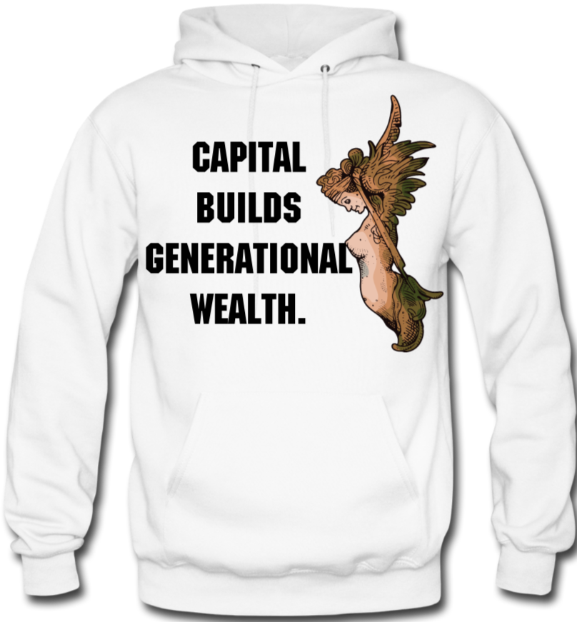 Capital Builds Wealth Men's Hoodie - white