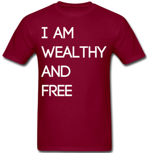 Wealthy and Free Men's T-Shirt - burgundy