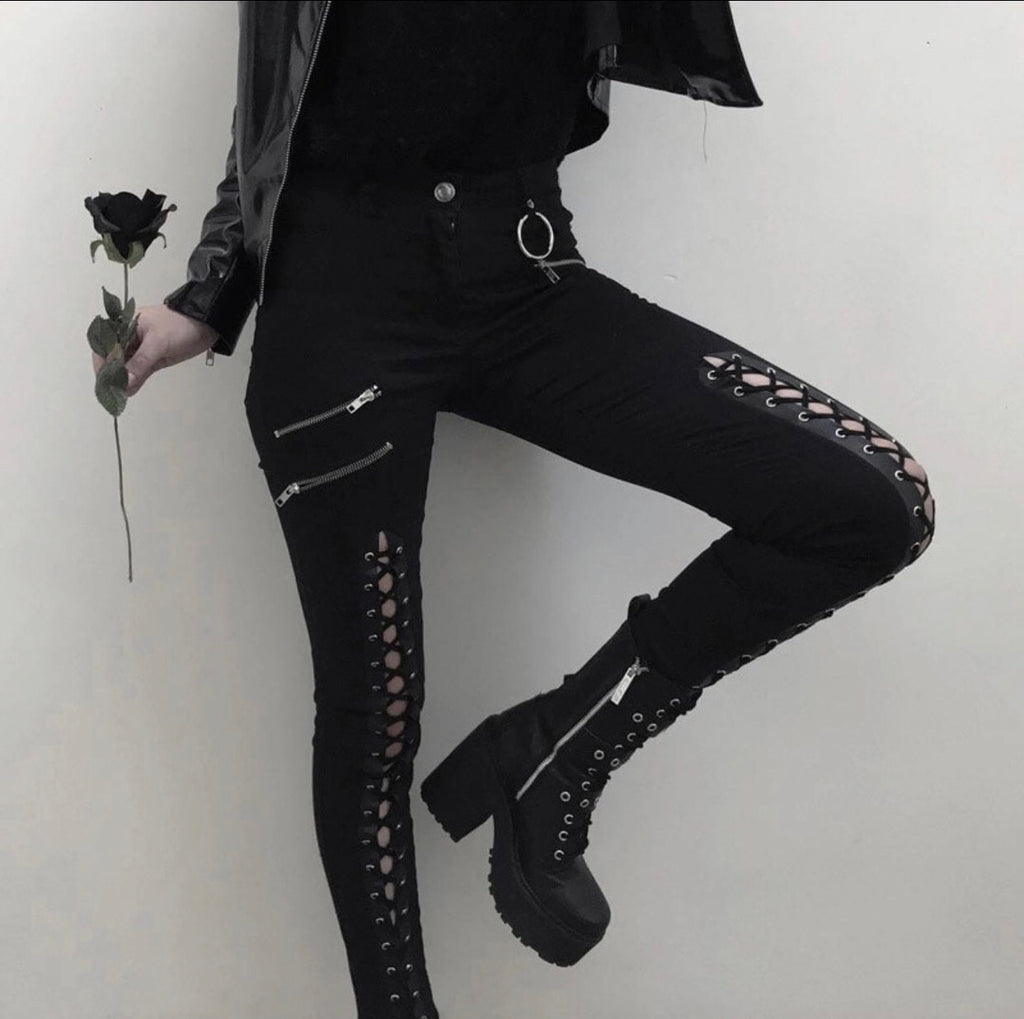 Black Hollow Lace up Jeans. -  Ashe Raven