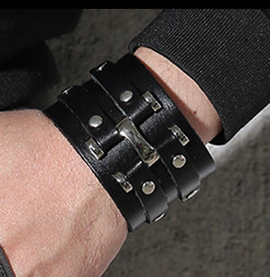 Handmade wide Black Leather cuff