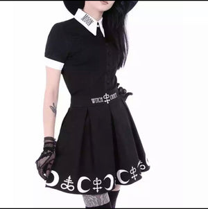 Witch craft moon letters skirt and top -  Ashe Raven