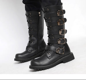 Metal buckle mid-calf combat boots -  Ashe Raven