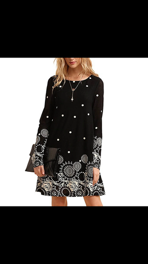 Long sleeve gothic print mini dress. -  Ashe Raven