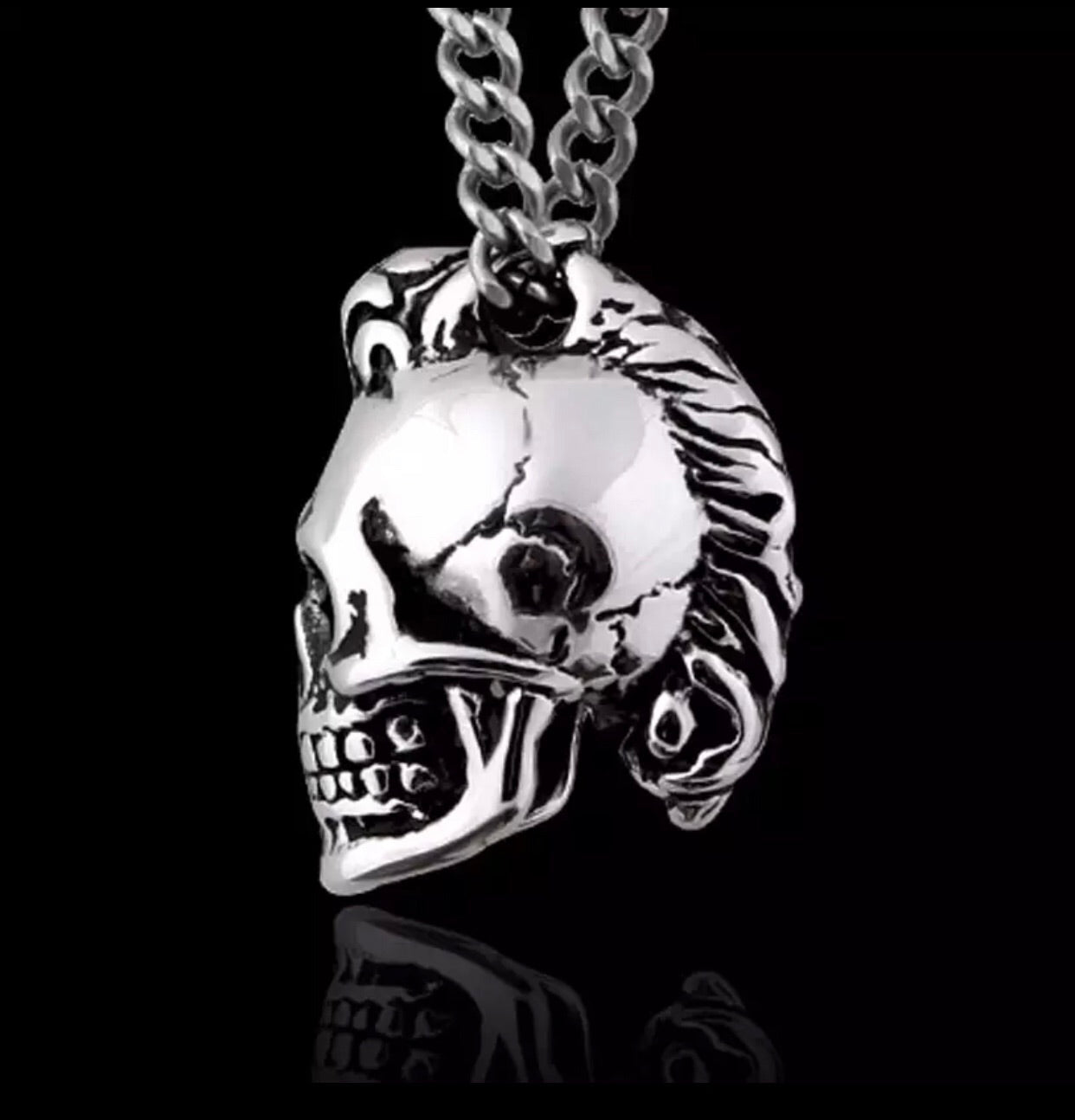 Stainless Steel Punk Skull Necklace