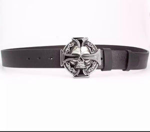 Silver skull cross Leather belt.