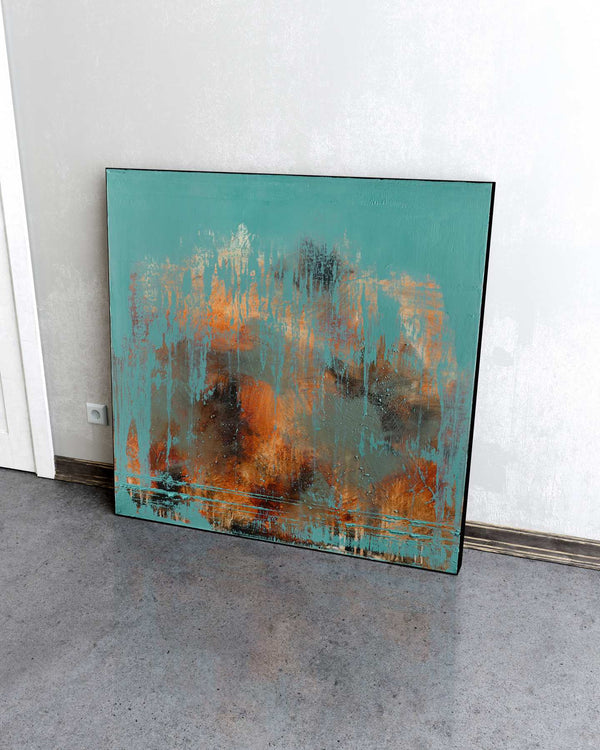 Broken Teal / 36''x 36''/ Acrylic on Canvas / 2021