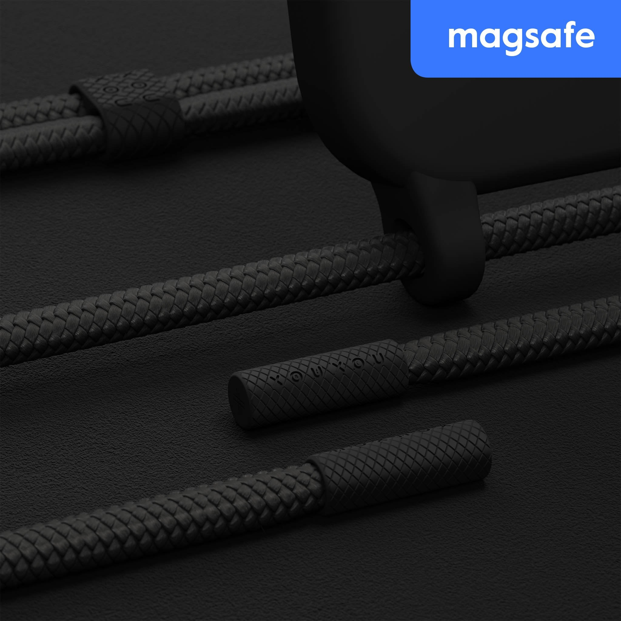 Black Silicone Case with MagSafe + Rope