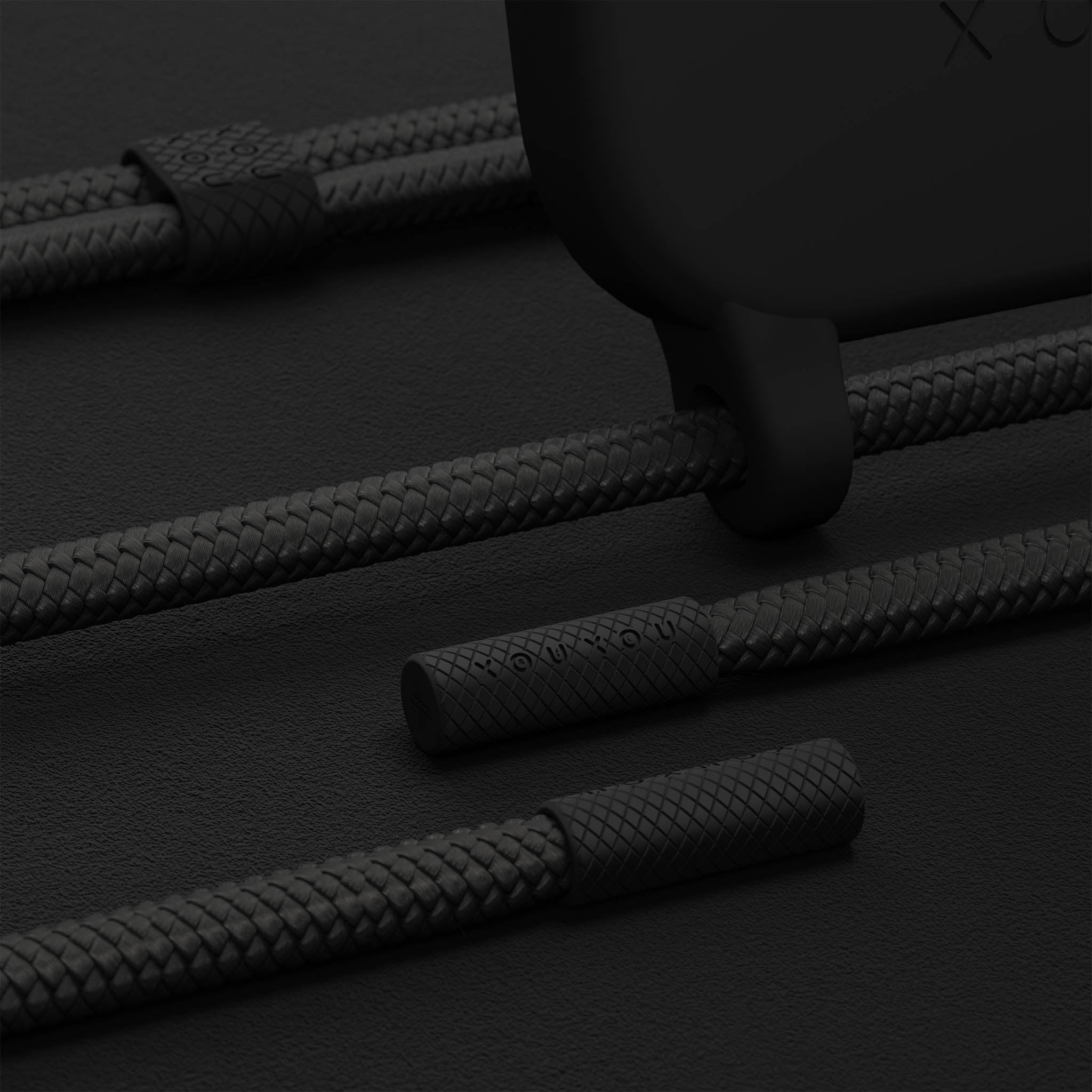 All Black Silicone Case + Rope