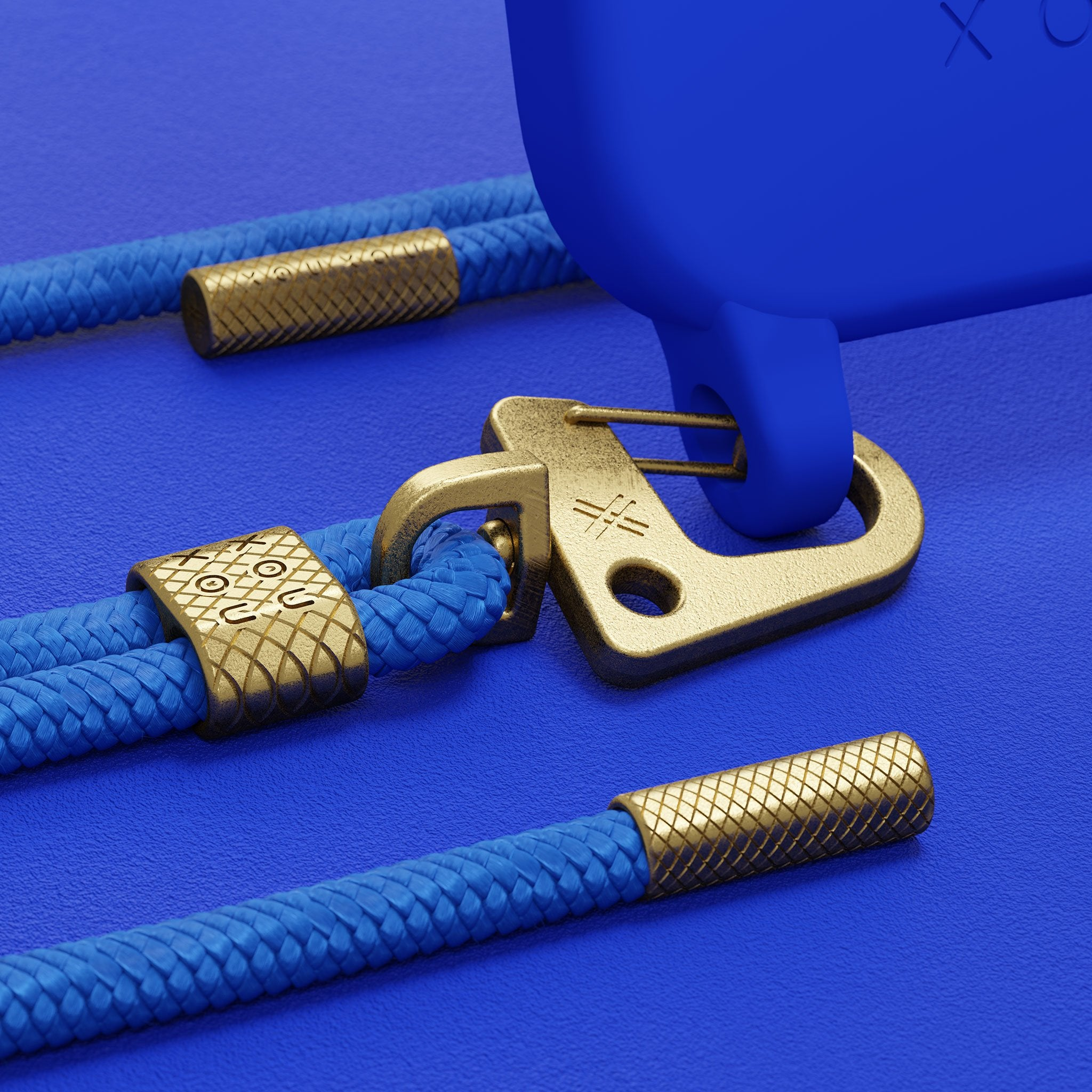 Blue Silicone Case + Carabiner Rope