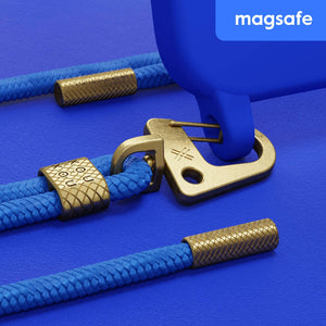 Blue Silicone Case with MagSafe + Carabiner Rope
