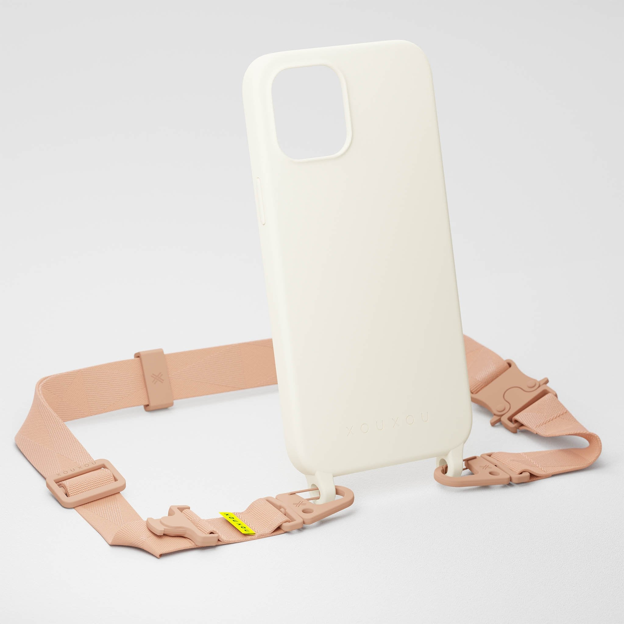 Chalk Silicone Case + Powder Pink Lanyard