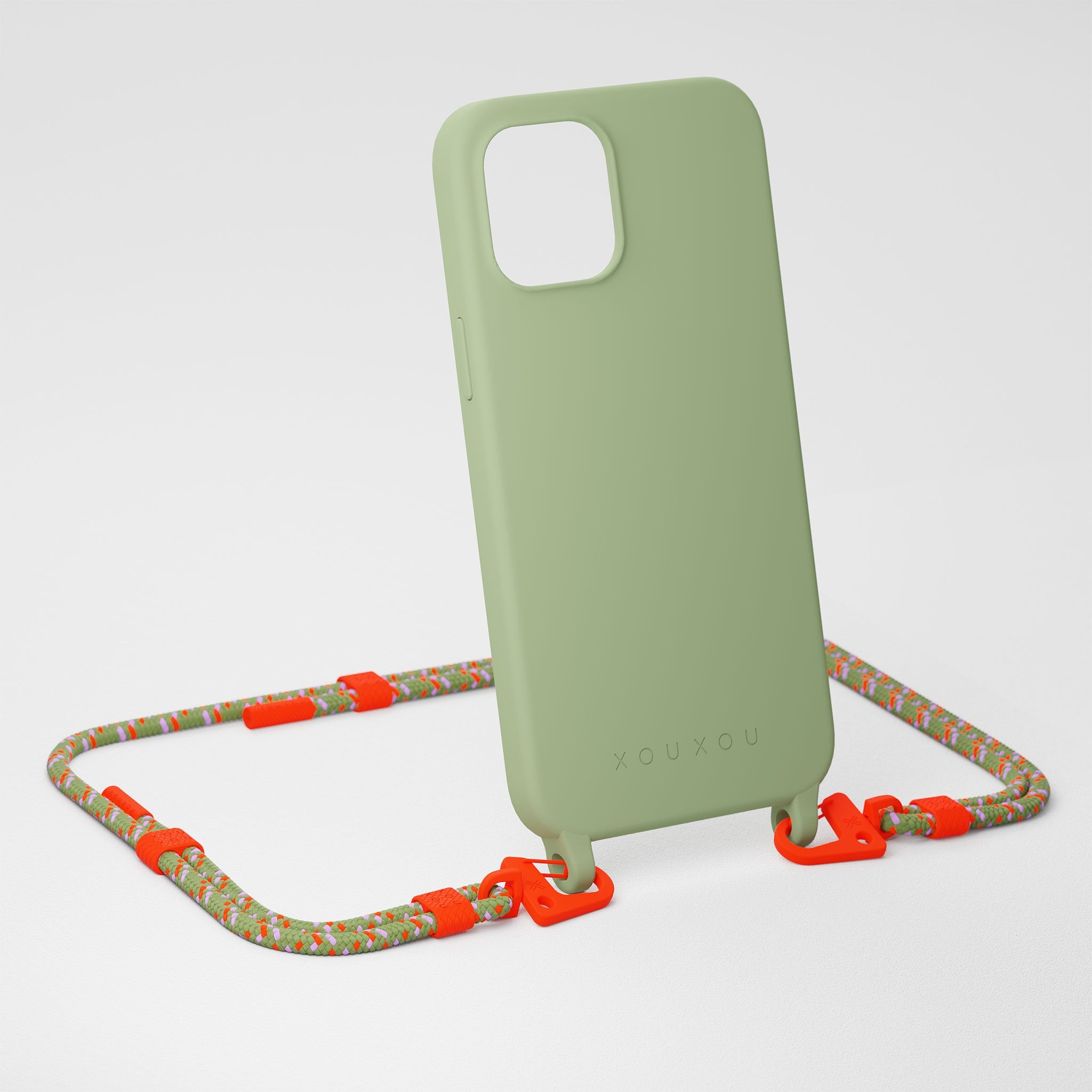 Light Olive Silicone Case + Orange Camouflage Carabiner Rope