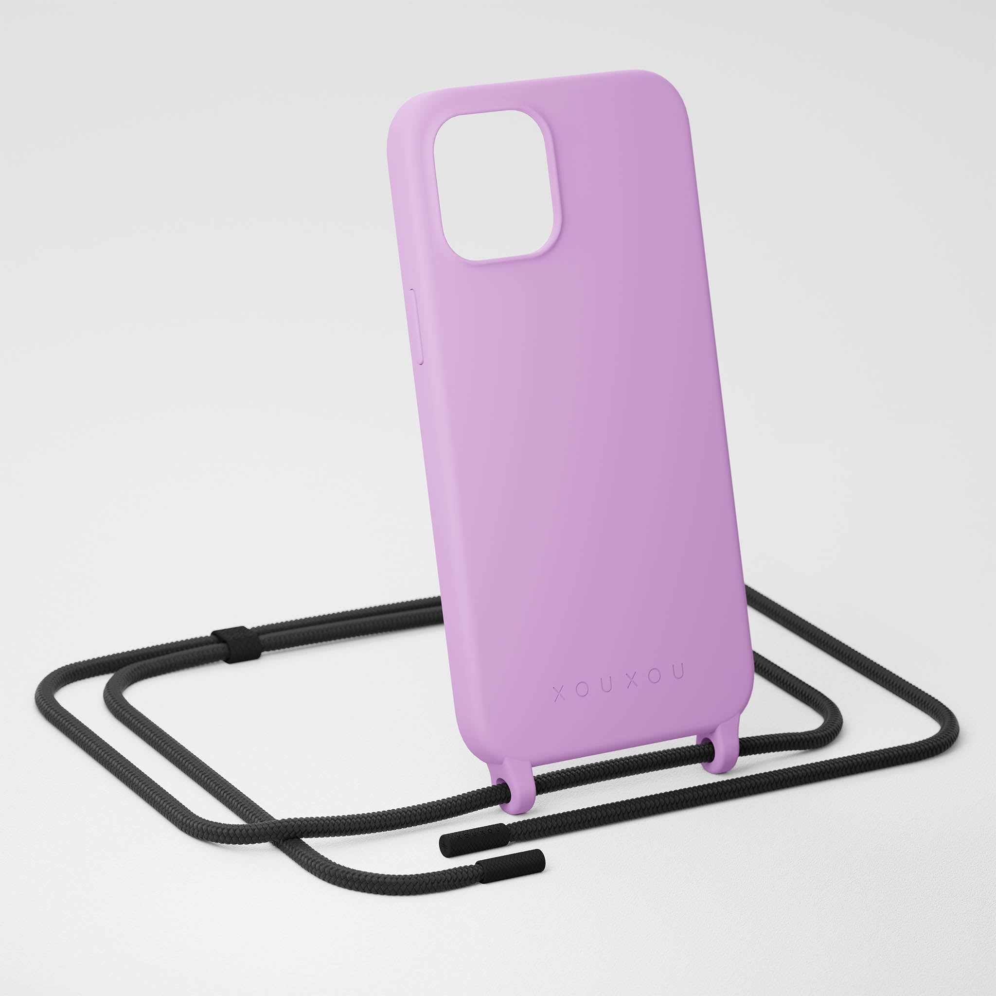 Lilac Silicone Case + Black Rope