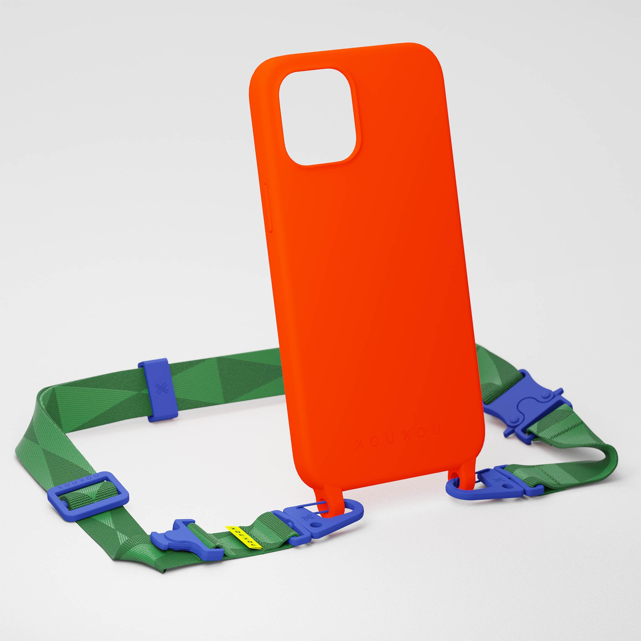 Neon Orange Silicone Case + Yves Green Lanyard