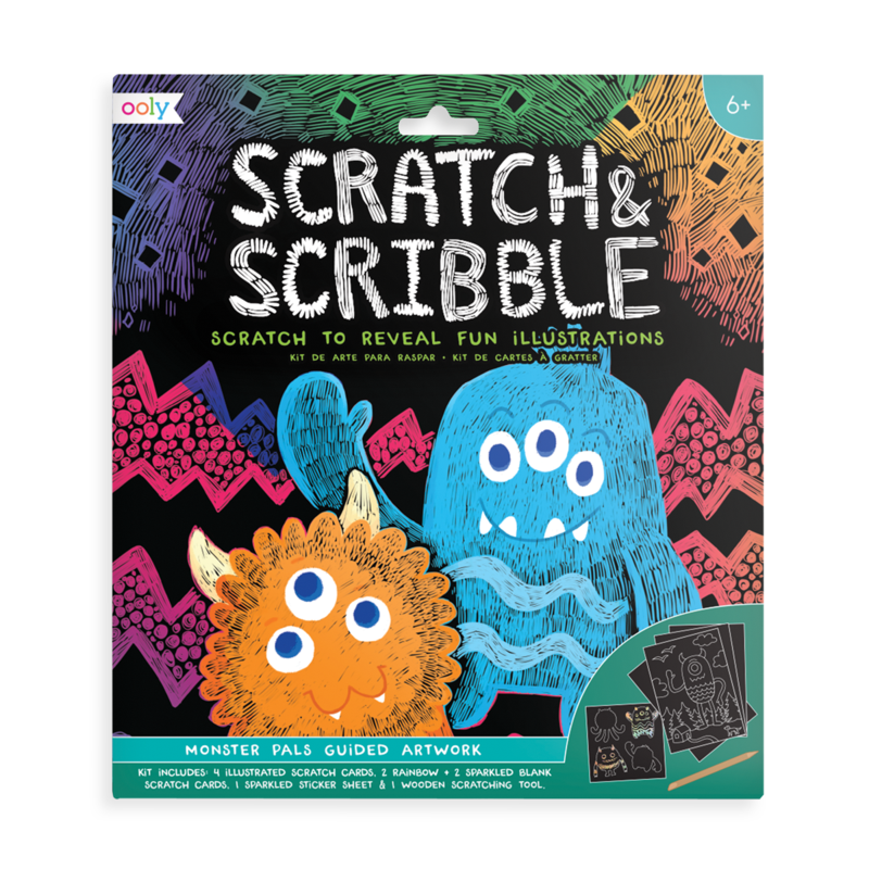 Monster pals scratch and scribble scratch art kit