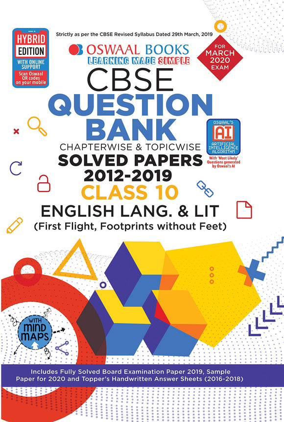 Oswaal Class 10 English (First Flight, Footprints) Question Bank for 2020 Examinations