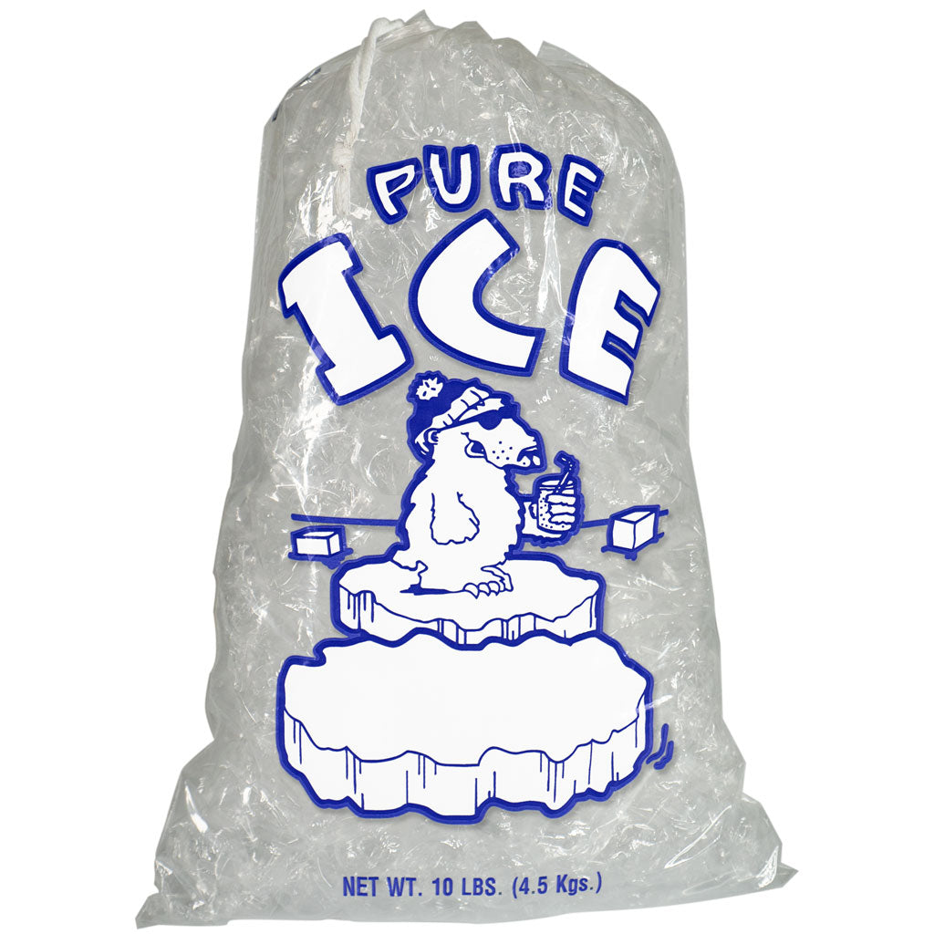 10 Pound Ice Bags with Drawstrings Pure Ice Polar Bear