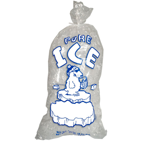 10 pound Ice Bags with Twist Ties Pure Ice Polar Bear