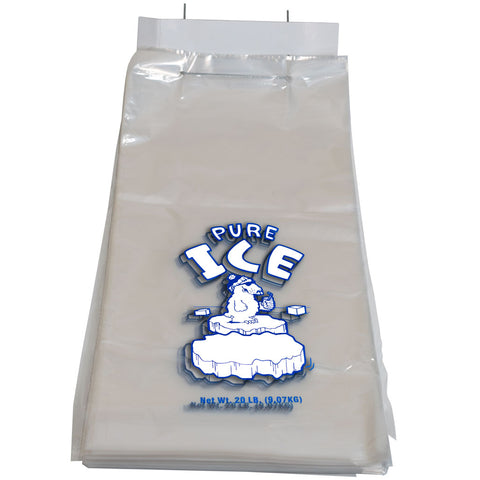 Twenty Pound Heavy Duty Pure Ice Bags on wire Wicket