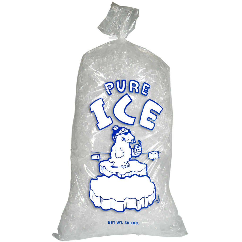 20 pound Ice Bags with Twist Ties Plain Top Pure Ice Polar Bear
