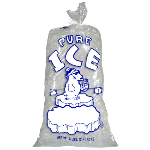 5 Pound Ice Bags Plain Top with Twist Ties Pure Ice Polar Bear