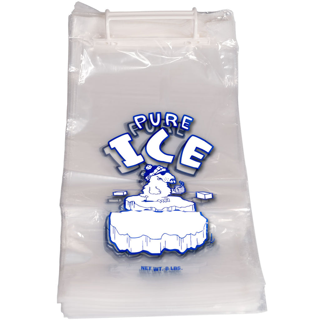 8 Pound Pure Ice Bags on Plastic Wicket