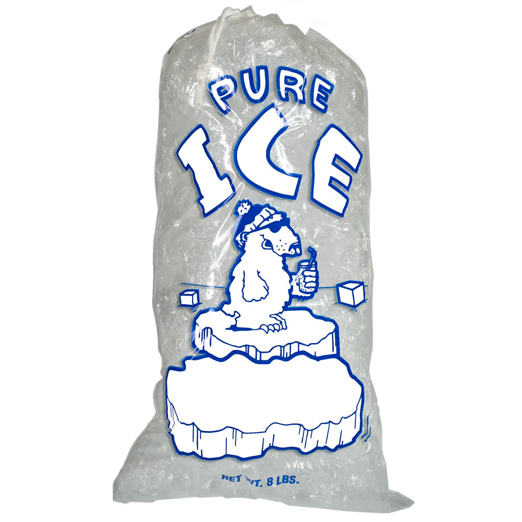 8 Pound Ice Bags with Drawstring Polar Bear Pure Ice