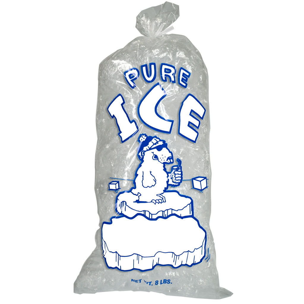 "8 lb Ice Bags 1.25 Mil ""Pure Ice"" (1,000 Bags/Case) with Twist Ties"