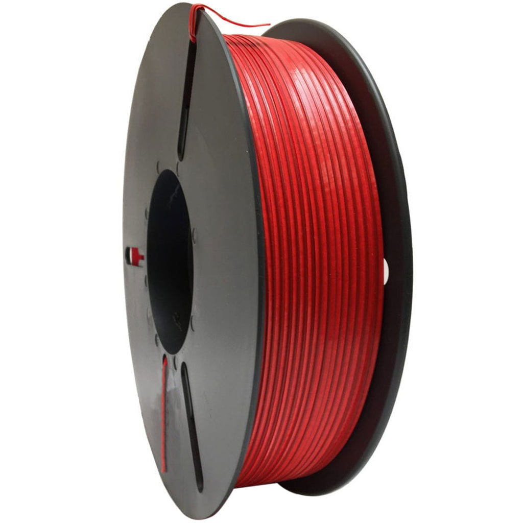 Red plastic twist tie spool