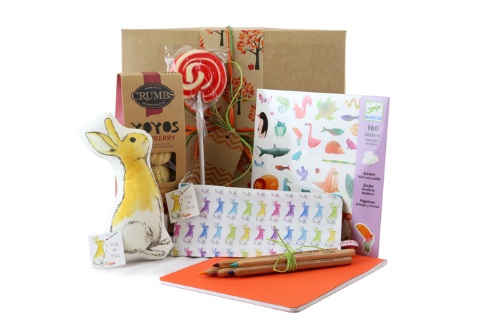 Kid's fun gift box with sweet treats and things to play with