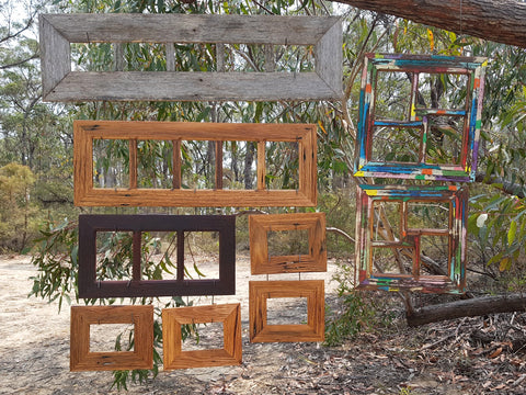 Recycled timber picture frames, multi collage frames made in Australia